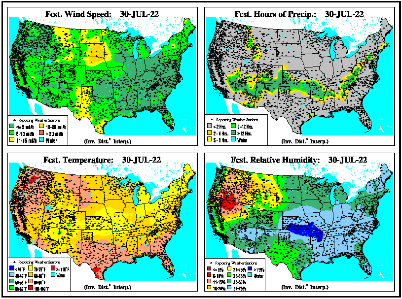 U.S. Forecast 24hr Wind, Rain, Temperatures & Humidity