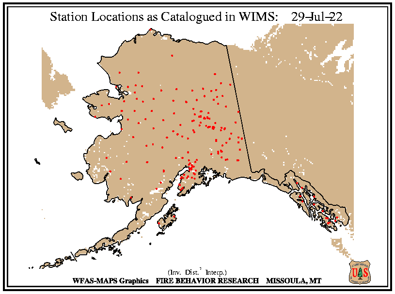 Alaska Fire Weather station location from WIMS