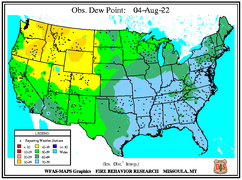 Observed Dew Point Levels