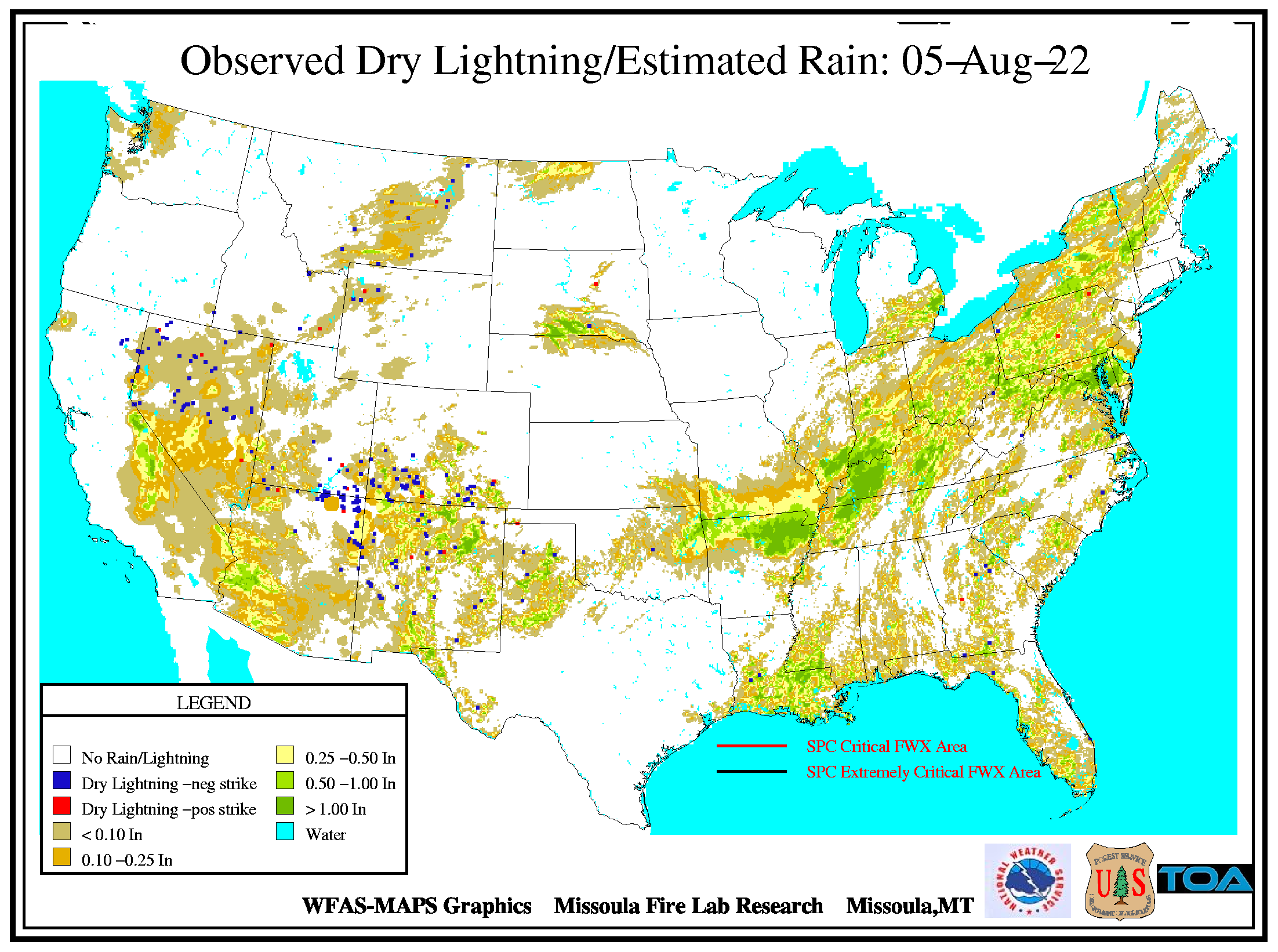 Observed dry lightning map for the continental U.S. Dry lightning is a major cause of wildfires.