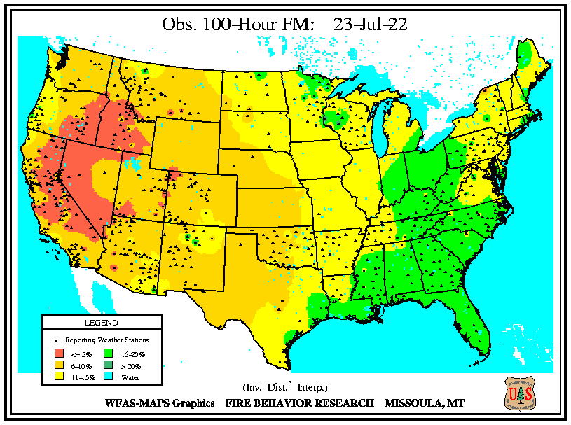 WFAS 100-Hour Fuel Moisture - Observed / Computed (click left or right to view the Forecast 100-Hour Fuel Moisture)