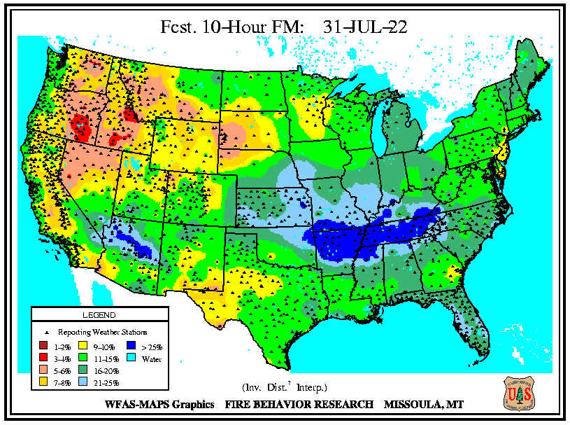 WFAS 10-Hour Fuel Moisture - Forecast (click left or right to return to Observed / Computed 10-Hour Fuel Moisture)