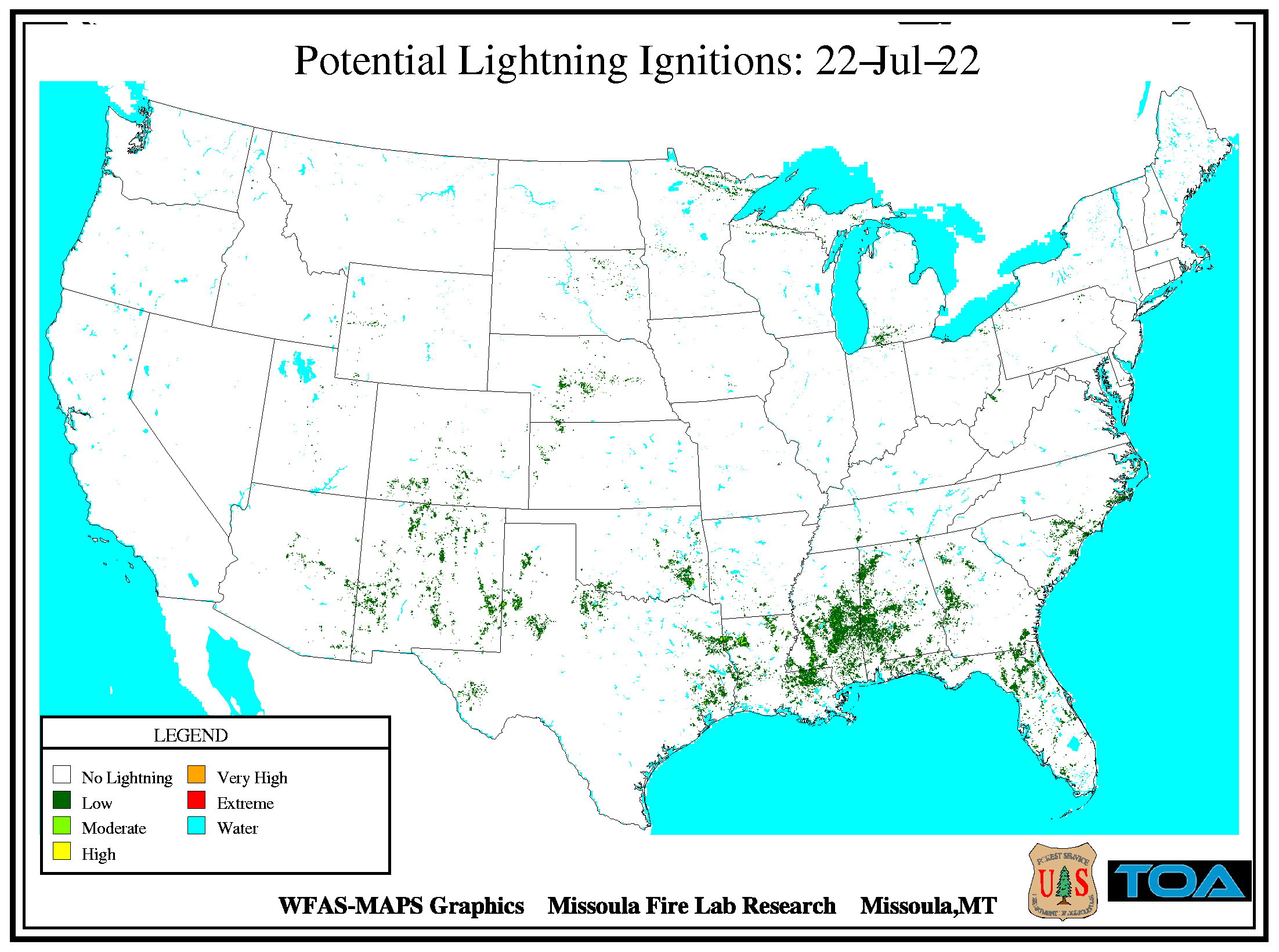 National Potential Lightning Ignitions