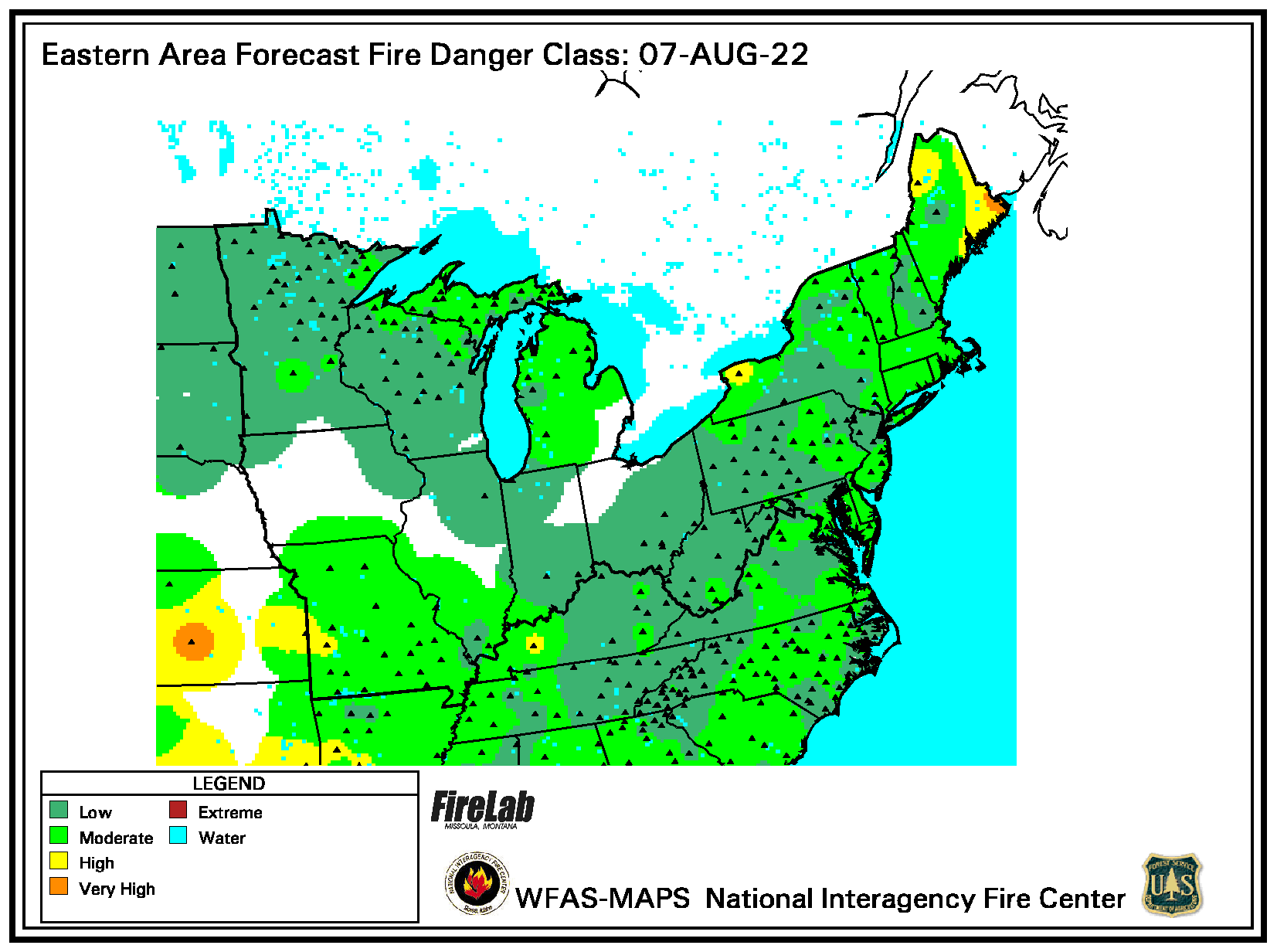 Fire Danger Forecast Map