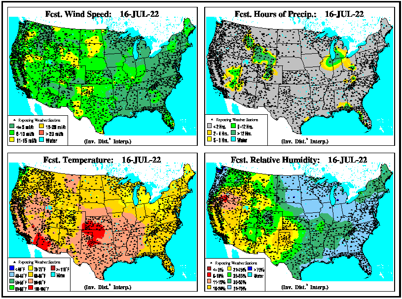 U.S. Forecast 24hr Wind, Rain, Temperatures & Humidity
