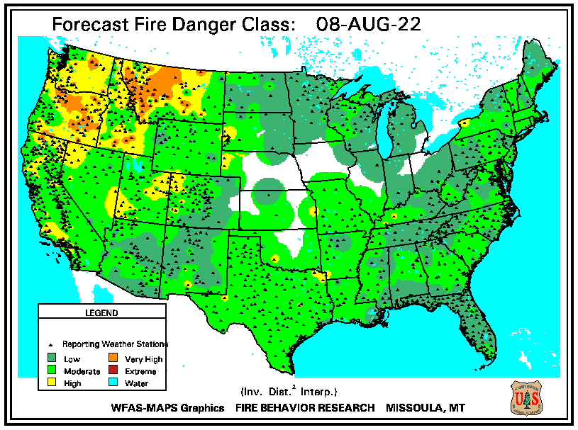 Forecast Fire Danger Class map of the United States