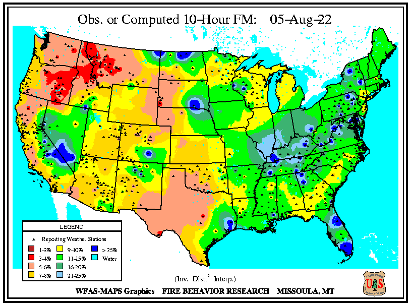 10 Hour Fuel Moisture map