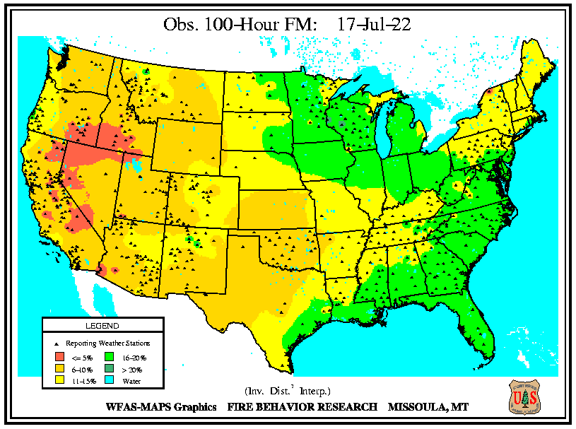 A national map of the latest Observed 100 hour dead fuel moisture