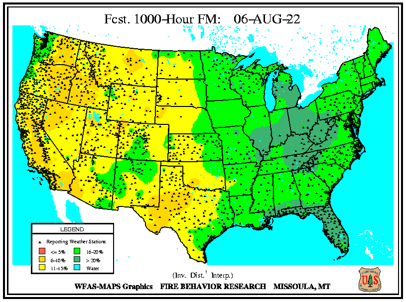WFAS 1000-Hour Fuel Moisture - Forecast