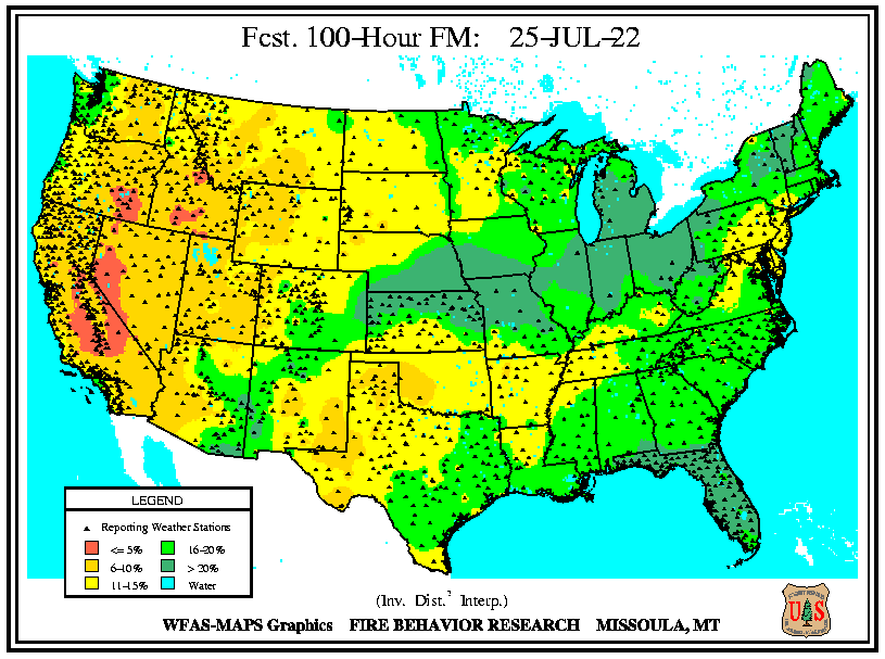 WFAS 100-Hour Fuel Moisture - Forecast