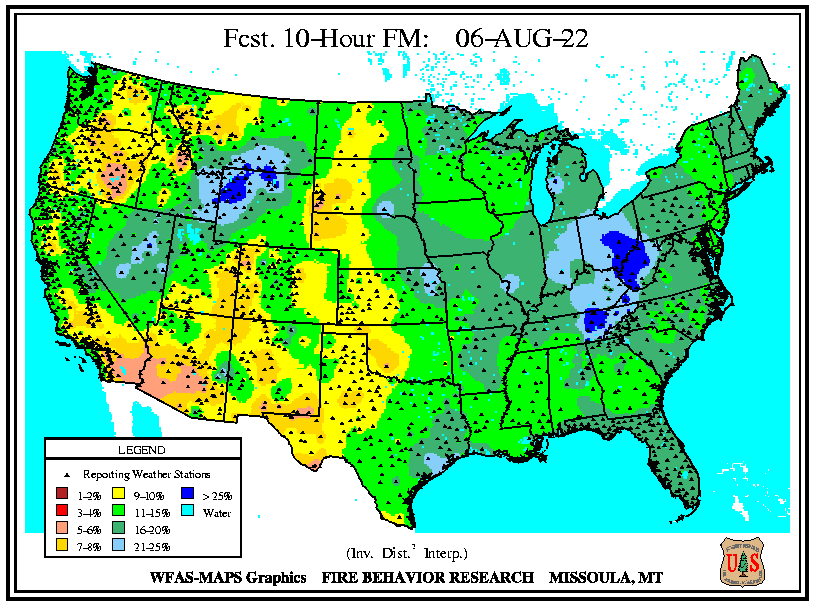 10 Hour Fuel Moisture Forecast map