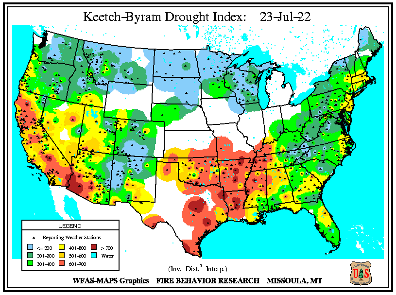 A national map of the latest Keetch-Byram Drought Index
