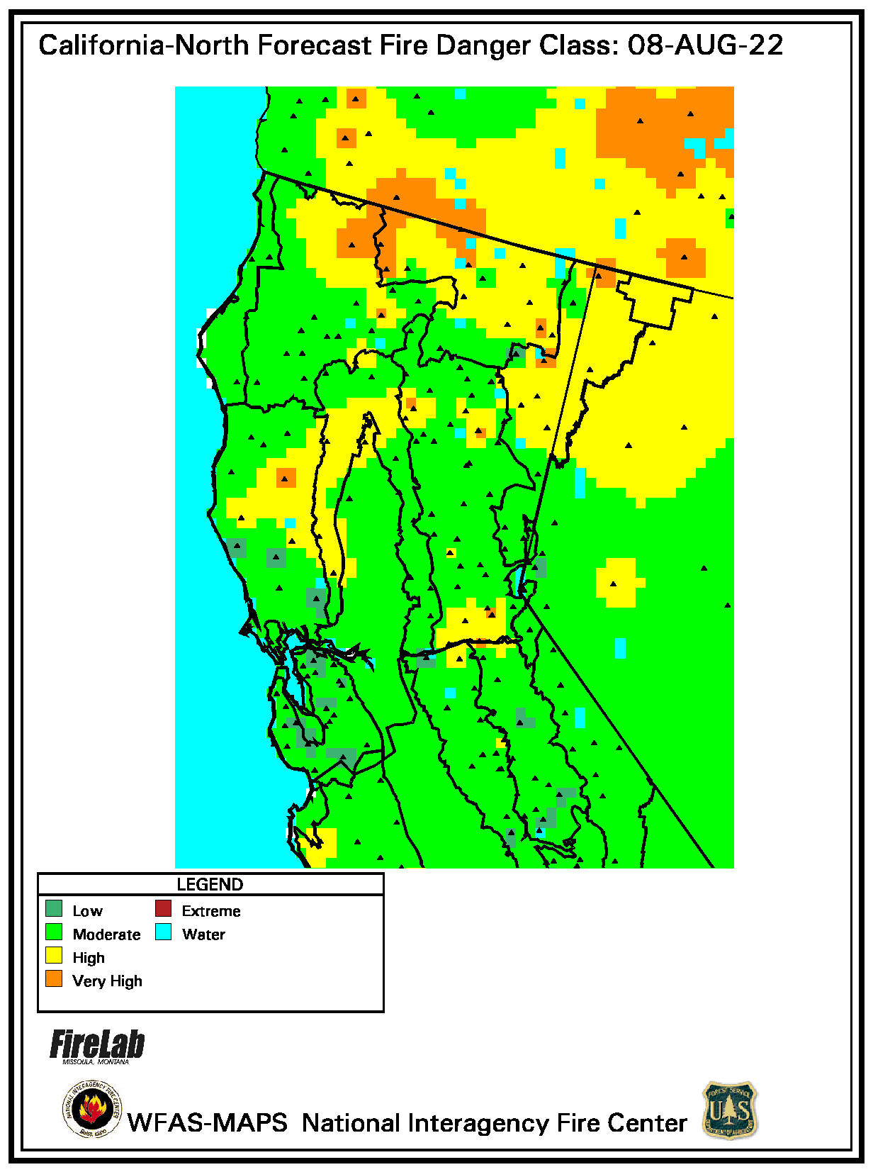 USFS Fire Danger Map