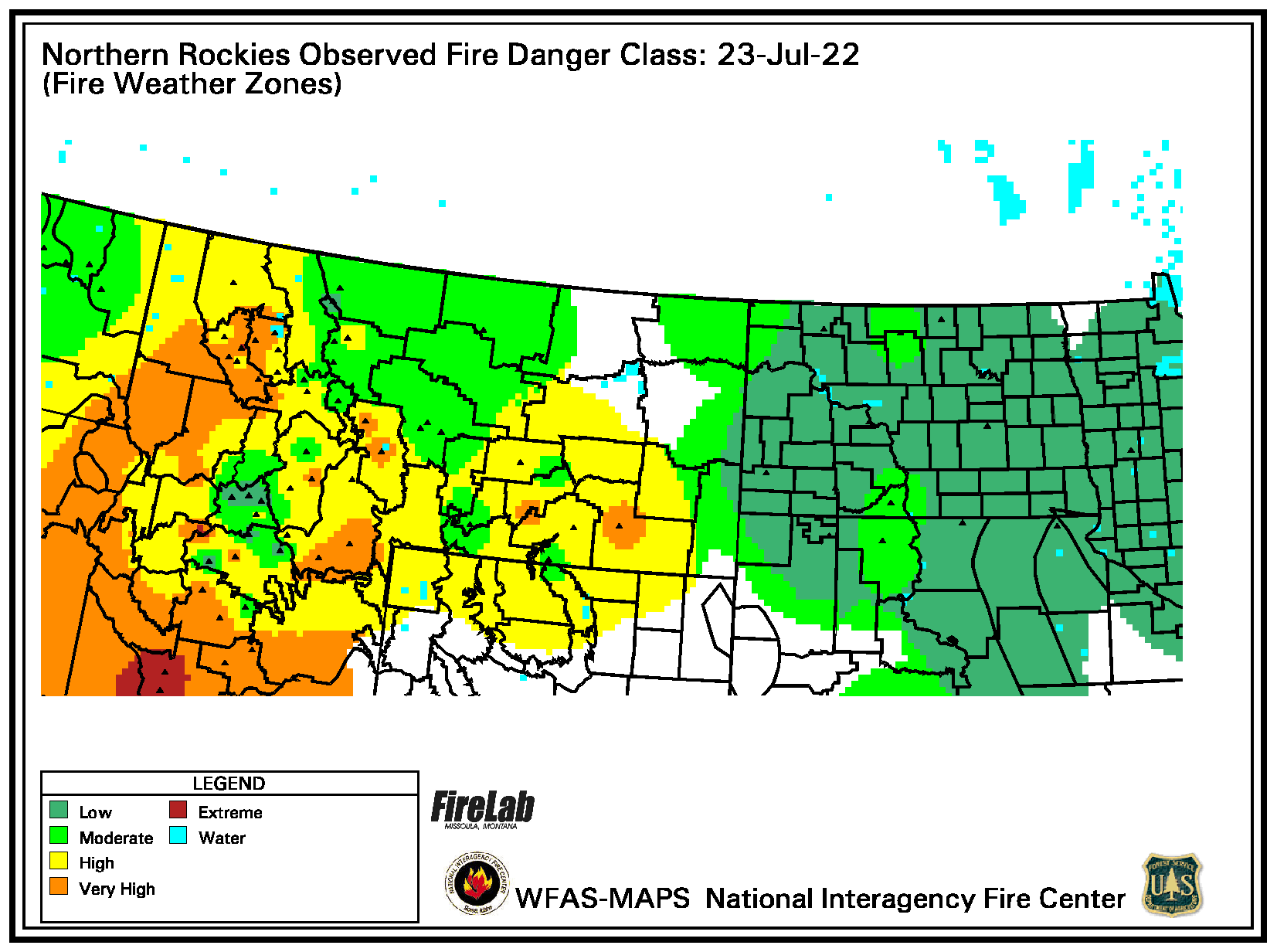 (Graphic) Map of Northern Rockies Geographic Area Observed Fire Danger